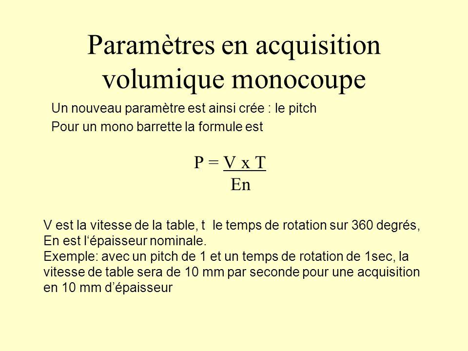 Paramètres en acquisition volumique monocoupe