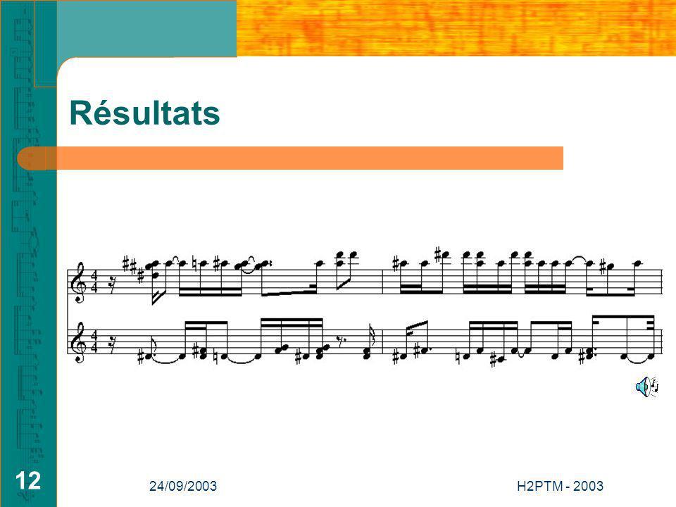 Résultats 24/09/2003 H2PTM - 2003