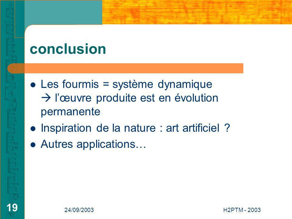 conclusion Les fourmis = système dynamique  l'œuvre produite est en évolution permanente. Inspiration de la nature : art artificiel