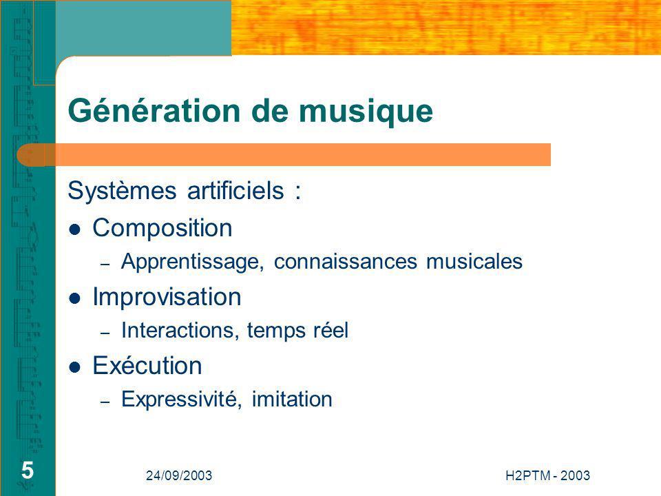 Génération de musique Systèmes artificiels : Composition Improvisation