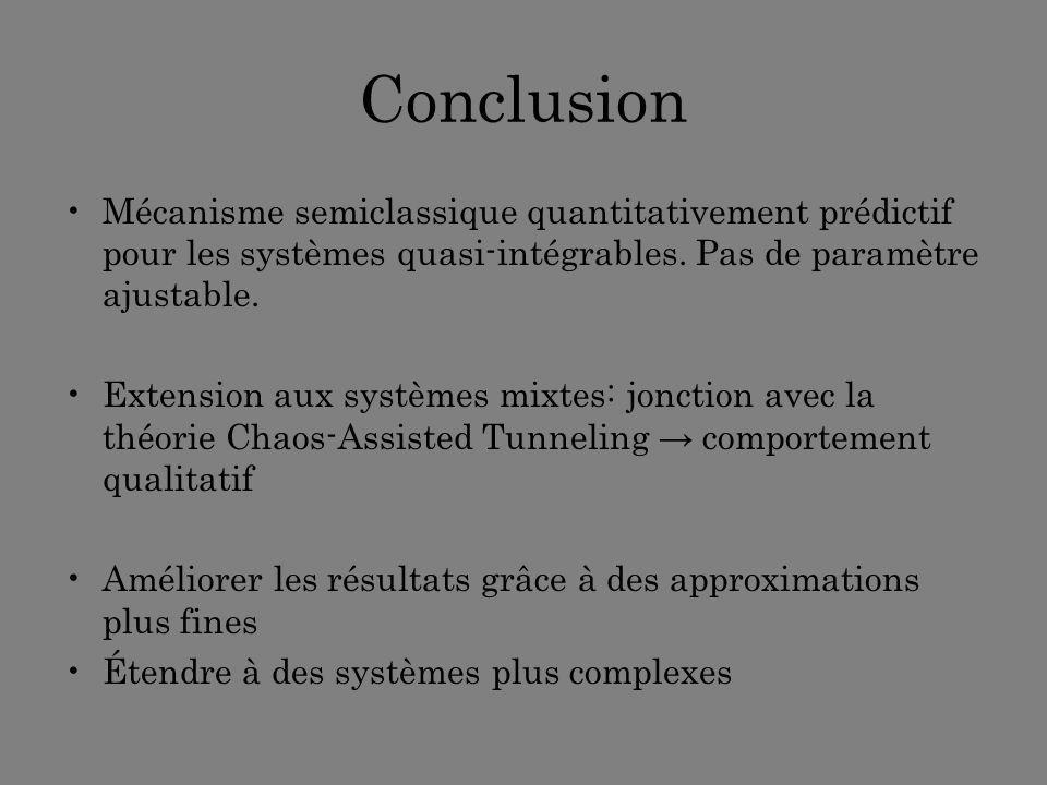 Conclusion Mécanisme semiclassique quantitativement prédictif pour les systèmes quasi-intégrables. Pas de paramètre ajustable.