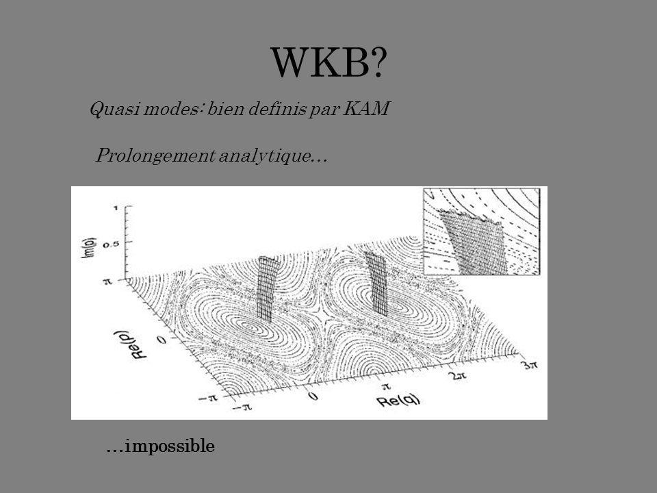 WKB Quasi modes: bien definis par KAM Prolongement analytique…