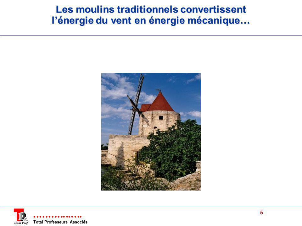 Les moulins traditionnels convertissent l'énergie du vent en énergie mécanique…