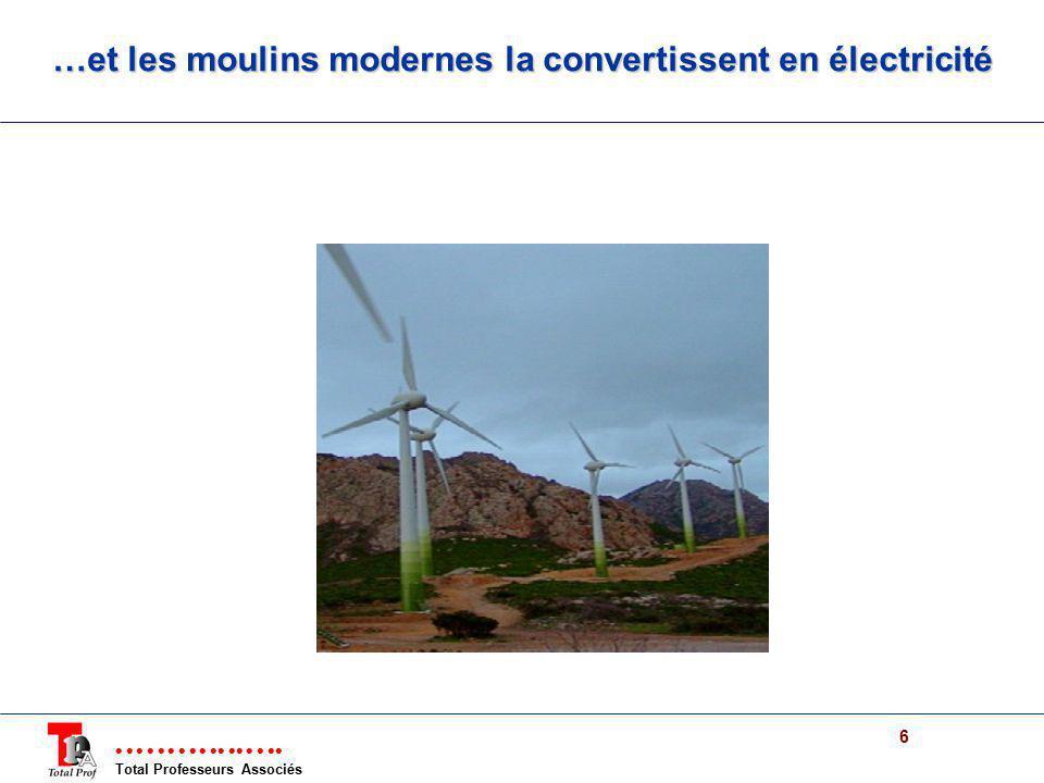 …et les moulins modernes la convertissent en électricité