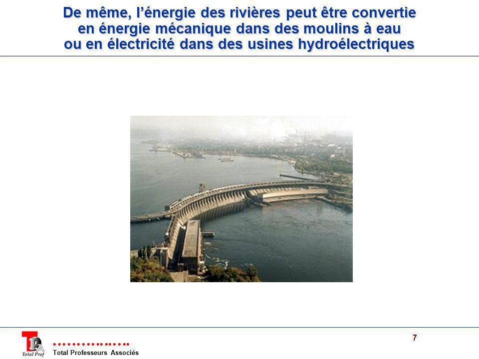 De même, l'énergie des rivières peut être convertie en énergie mécanique dans des moulins à eau ou en électricité dans des usines hydroélectriques