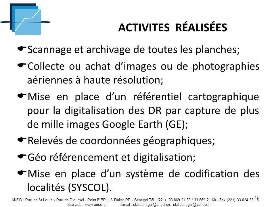 ACTIVITES RÉALISÉES Scannage et archivage de toutes les planches;