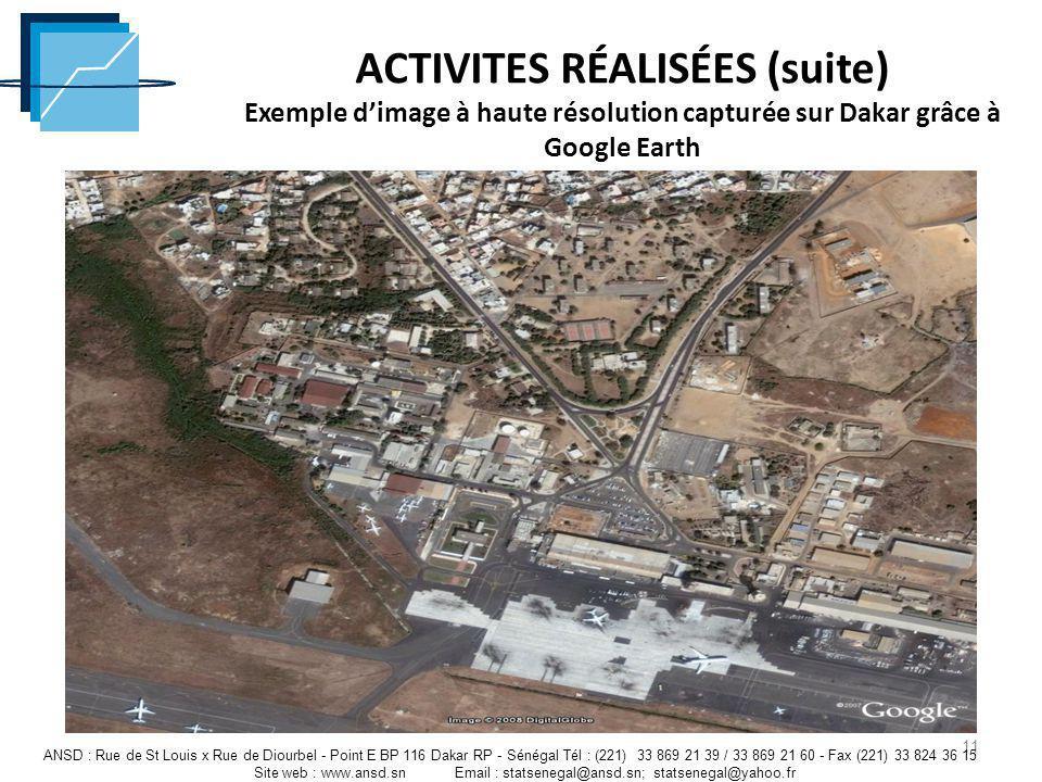 ACTIVITES RÉALISÉES (suite) Exemple d'image à haute résolution capturée sur Dakar grâce à Google Earth