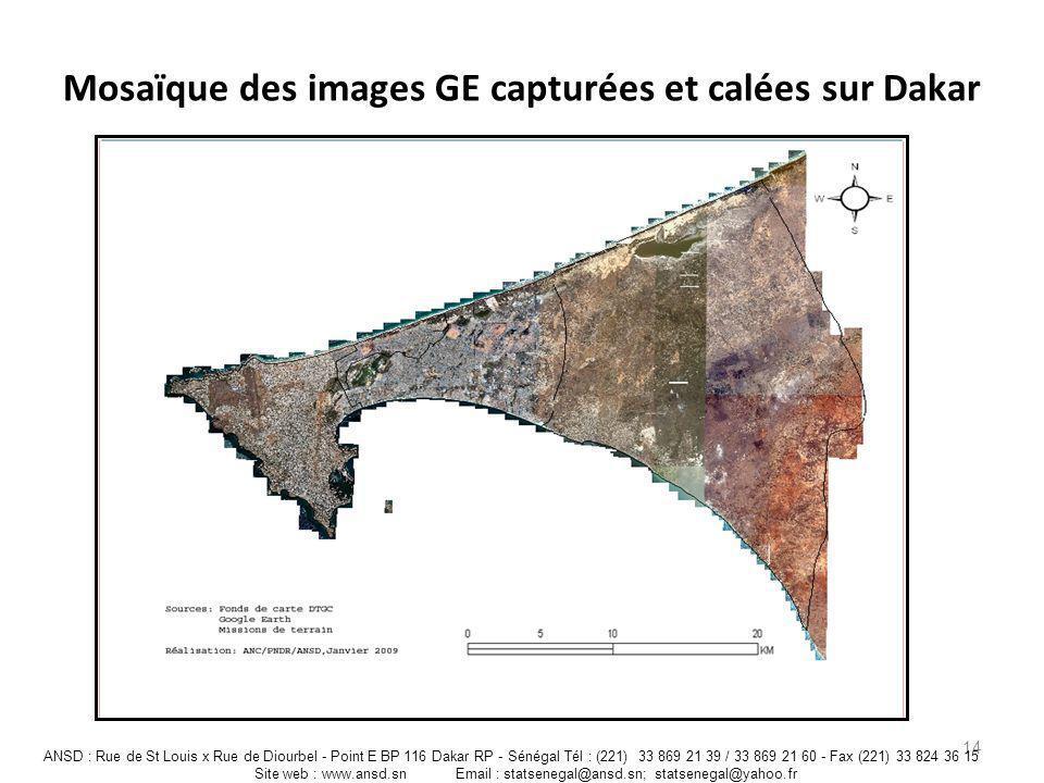 Mosaïque des images GE capturées et calées sur Dakar