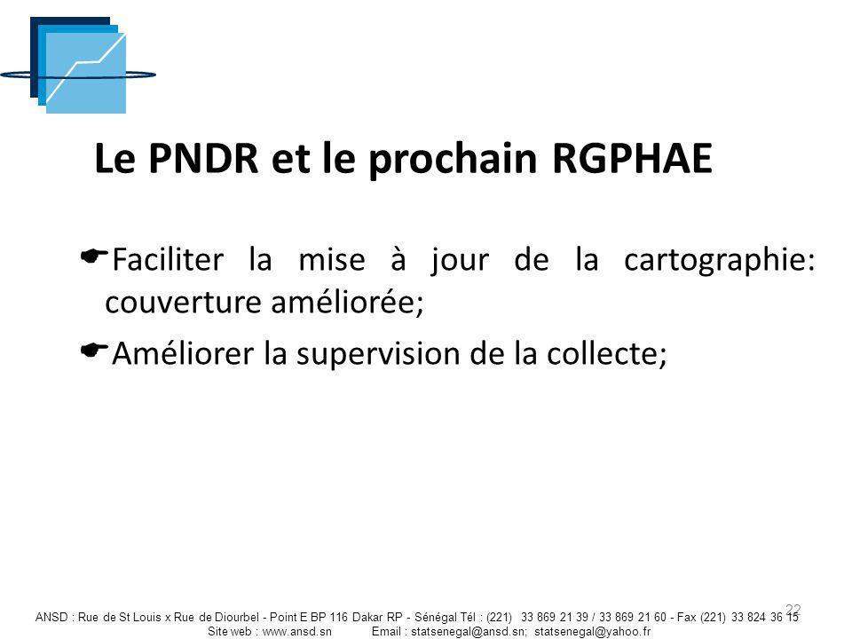 Le PNDR et le prochain RGPHAE