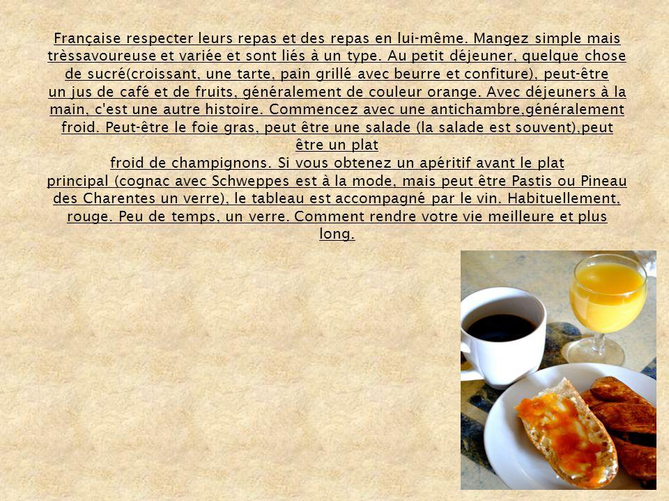Française respecter leurs repas et des repas en lui-même