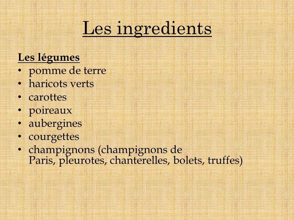 Les ingredients Les légumes pomme de terre haricots verts carottes