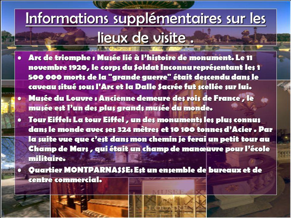 Informations supplémentaires sur les lieux de visite .