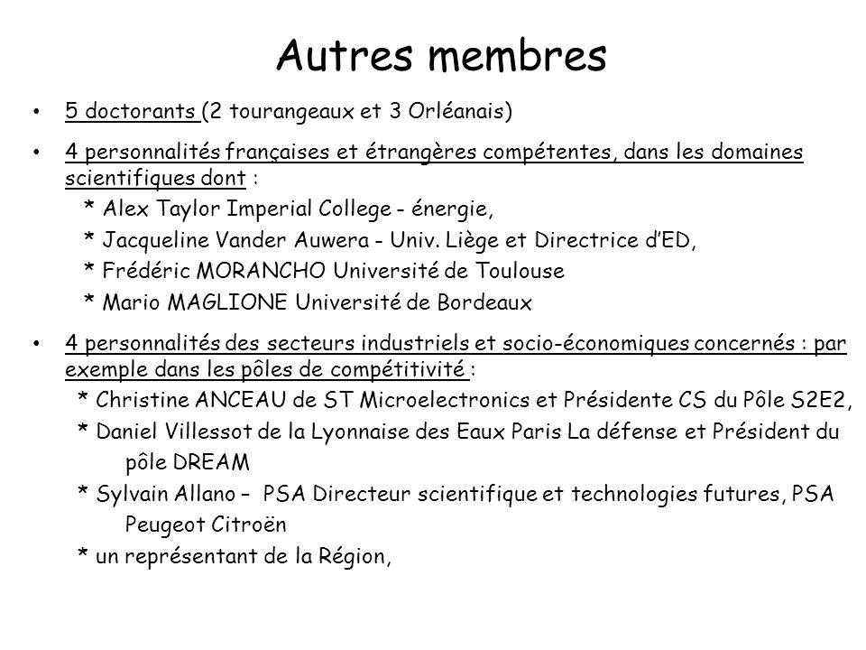 Autres membres 5 doctorants (2 tourangeaux et 3 Orléanais)