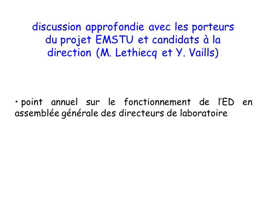 discussion approfondie avec les porteurs du projet EMSTU et candidats à la direction (M. Lethiecq et Y. Vaills)