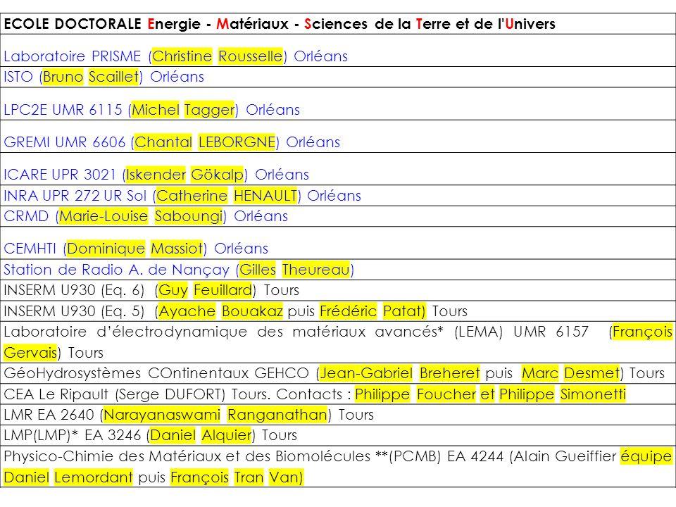 ECOLE DOCTORALE Energie - Matériaux - Sciences de la Terre et de l Univers