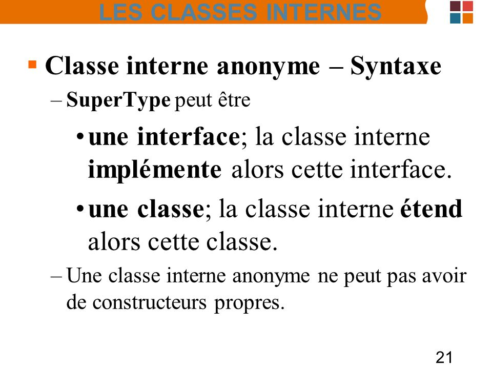 Classe interne anonyme – Syntaxe