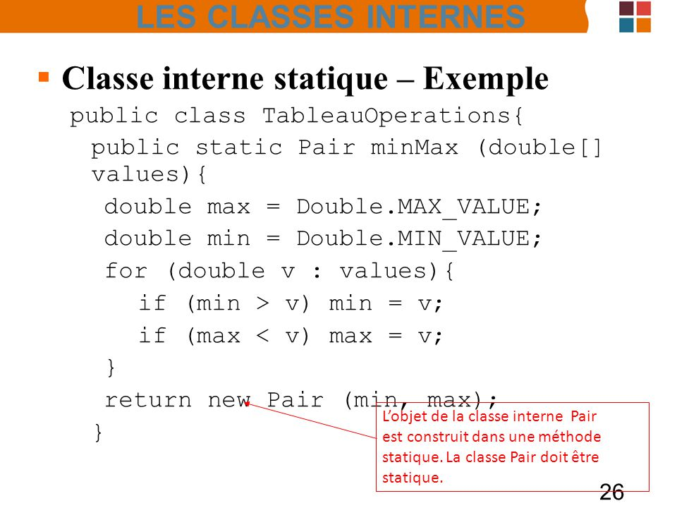 Classe interne statique – Exemple