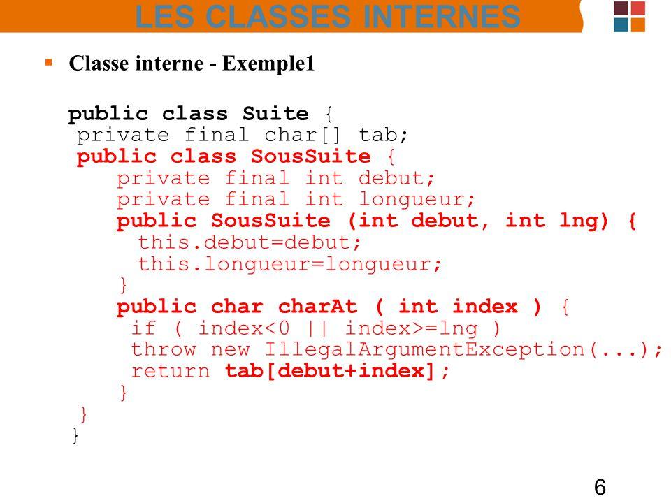 LES CLASSES INTERNES Classe interne - Exemple1 public class Suite {