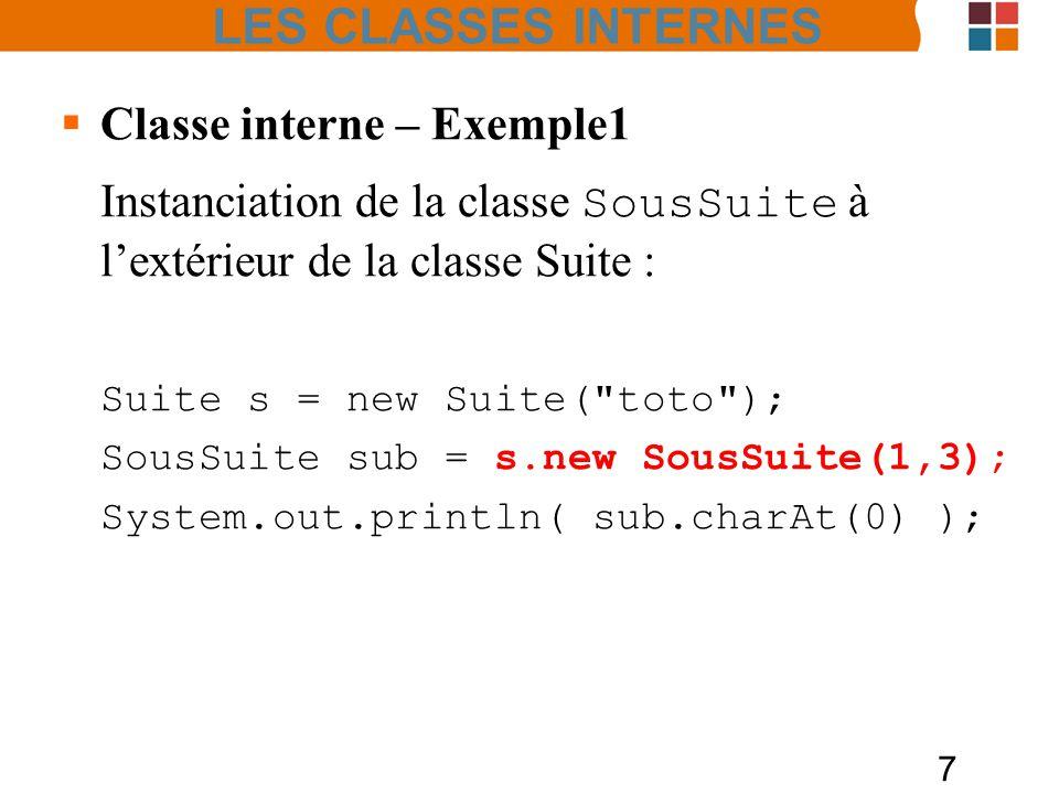 LES CLASSES INTERNES Classe interne – Exemple1. Instanciation de la classe SousSuite à l'extérieur de la classe Suite :