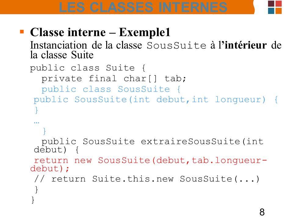 LES CLASSES INTERNES Classe interne – Exemple1 public class Suite {