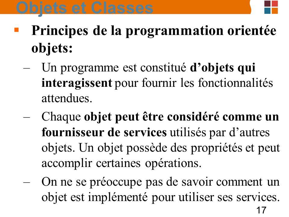 Objets et Classes Principes de la programmation orientée objets: