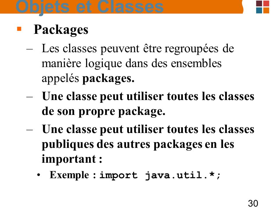 Objets et Classes Packages