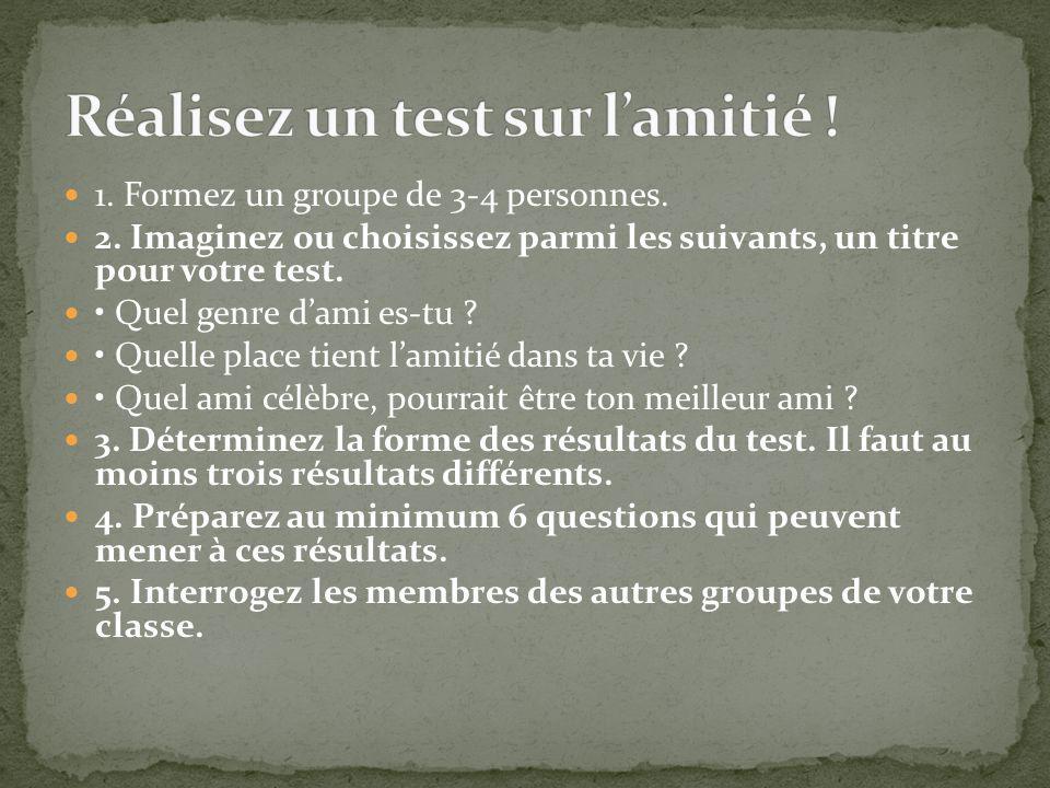 Réalisez un test sur l'amitié !