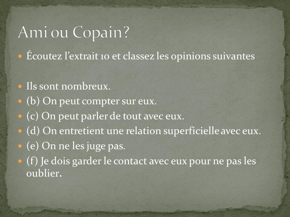 Ami ou Copain Écoutez l'extrait 10 et classez les opinions suivantes