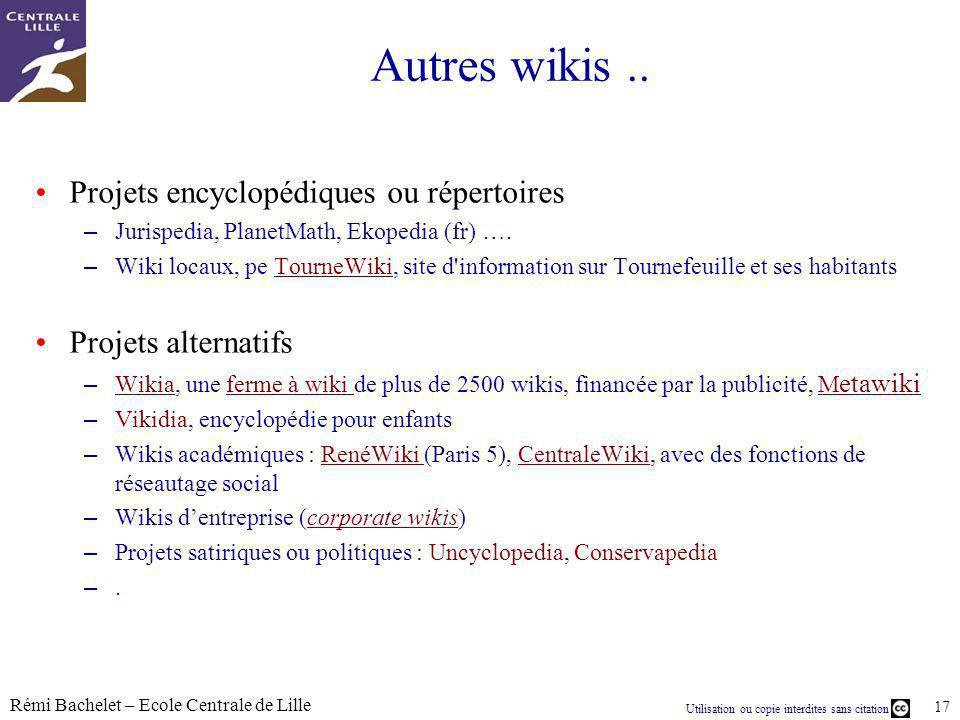 Autres wikis .. Projets encyclopédiques ou répertoires