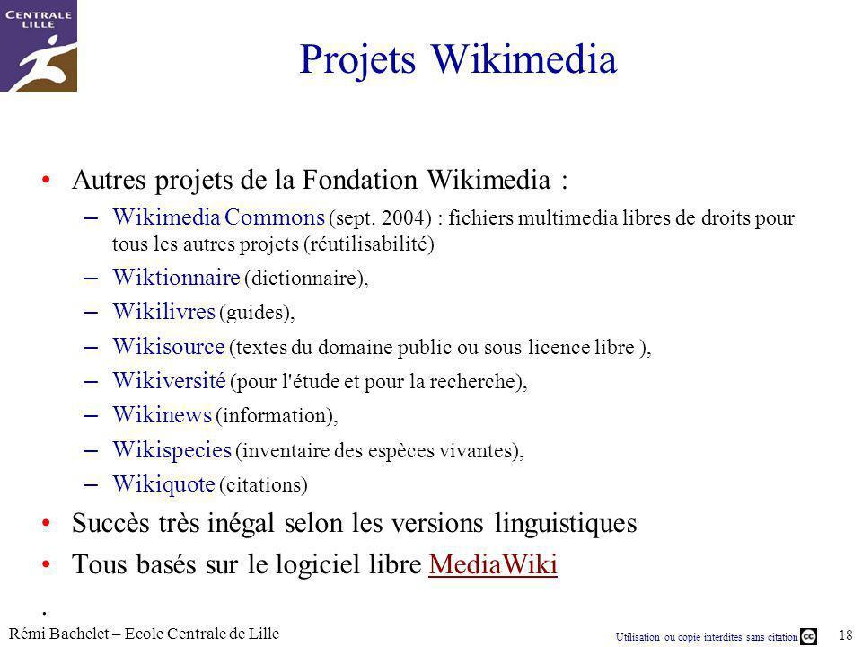 Projets Wikimedia Autres projets de la Fondation Wikimedia :