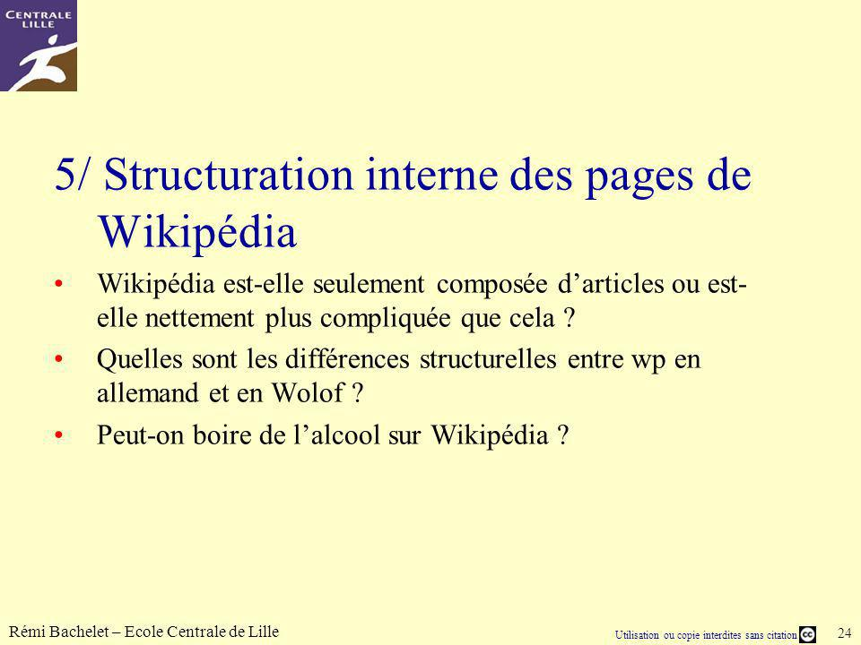 5/ Structuration interne des pages de Wikipédia