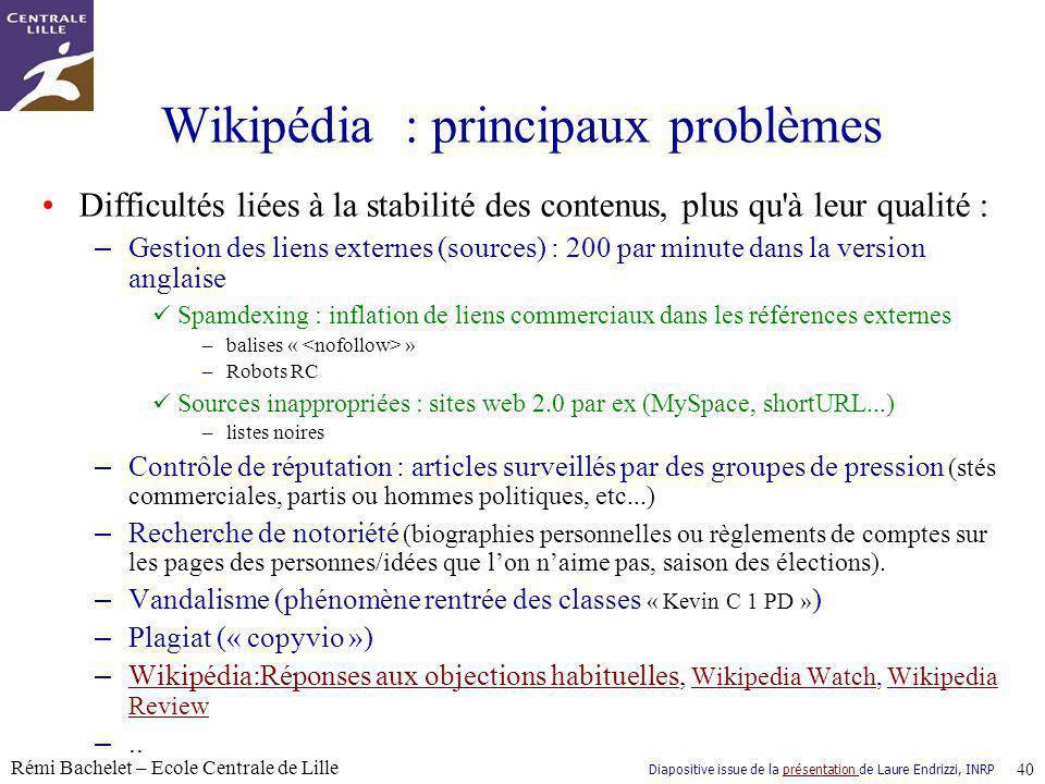 Wikipédia : principaux problèmes