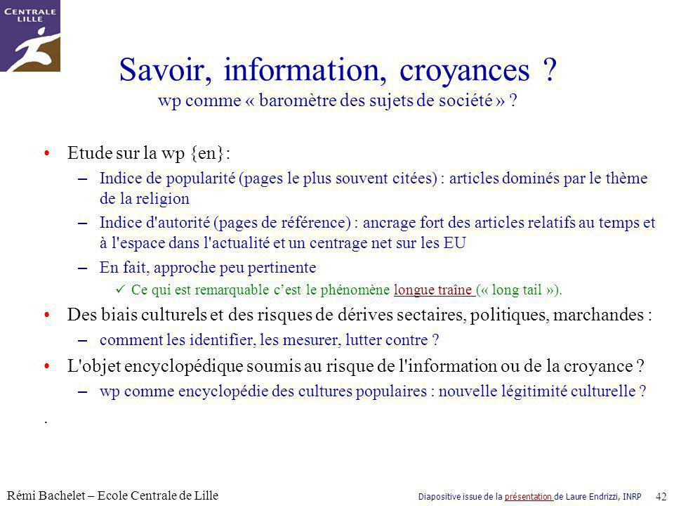 Savoir, information, croyances