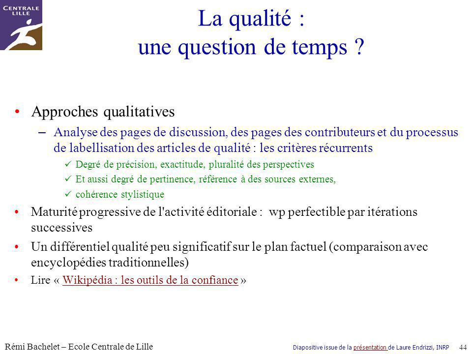 La qualité : une question de temps