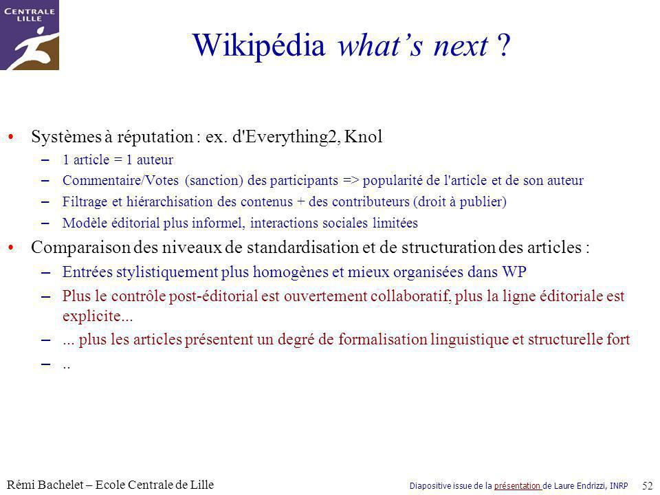 Wikipédia what's next Systèmes à réputation : ex. d Everything2, Knol. 1 article = 1 auteur.