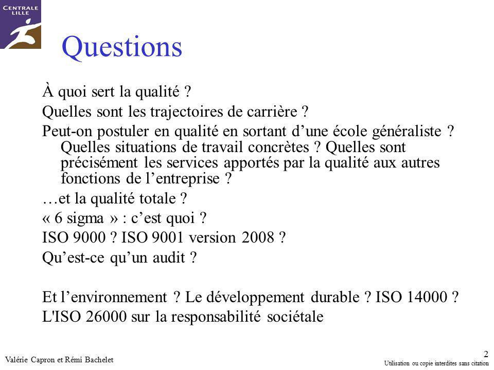 Questions À quoi sert la qualité
