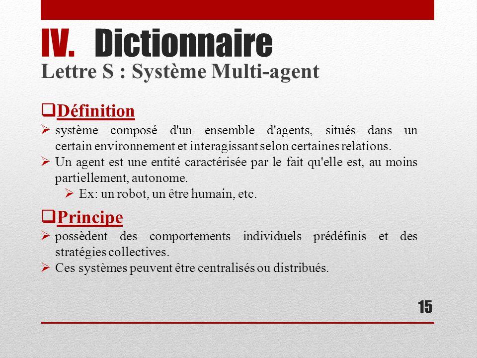 Lettre S : Système Multi-agent