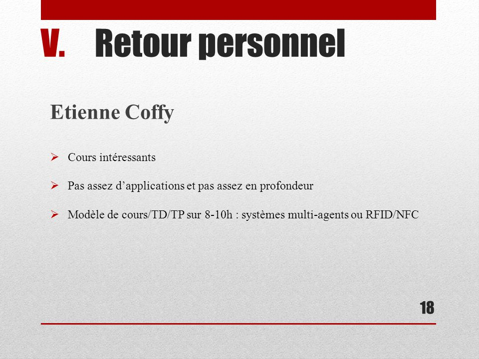 Retour personnel Etienne Coffy Cours intéressants
