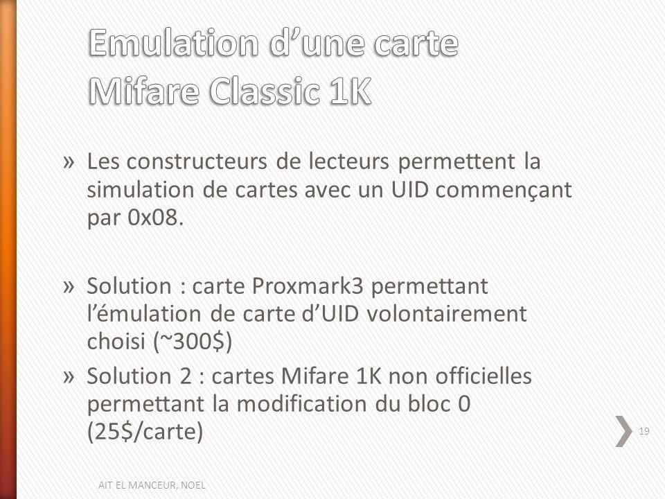 Emulation d'une carte Mifare Classic 1K