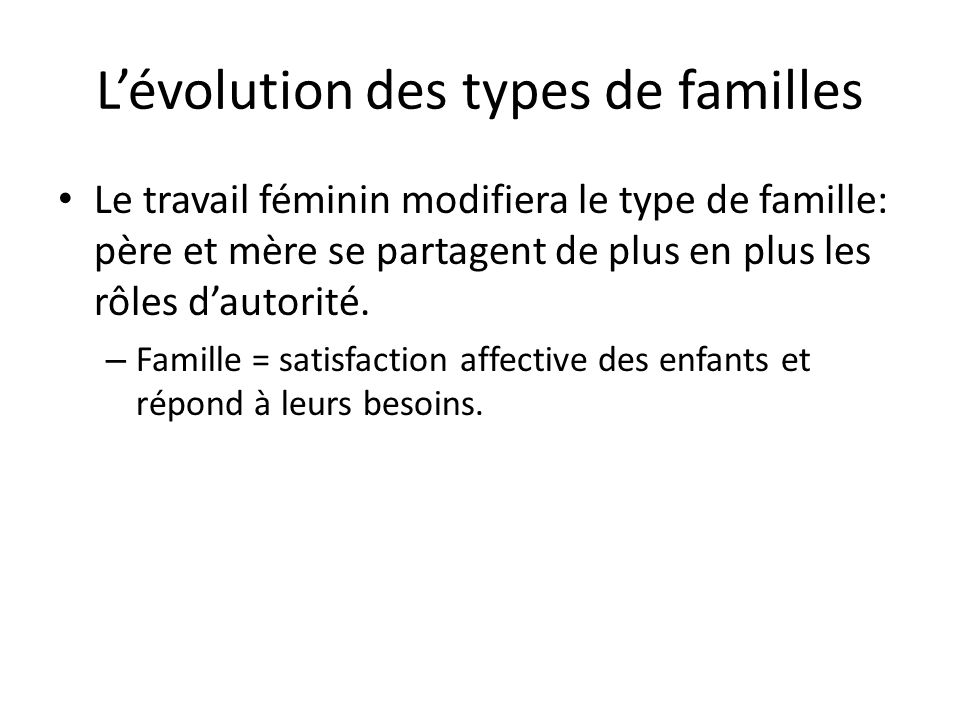 L'évolution des types de familles