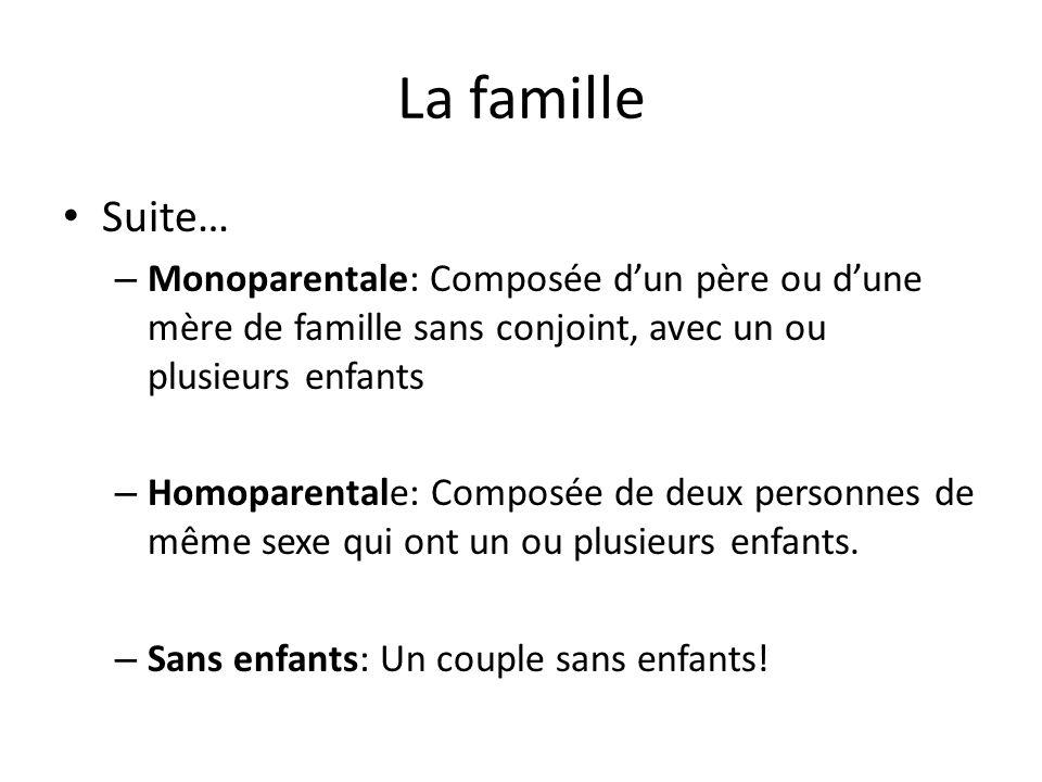 La famille Suite… Monoparentale: Composée d'un père ou d'une mère de famille sans conjoint, avec un ou plusieurs enfants.