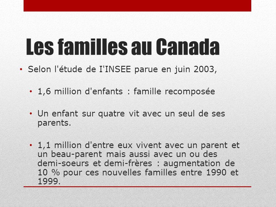 Les familles au Canada Selon l étude de I INSEE parue en juin 2003,