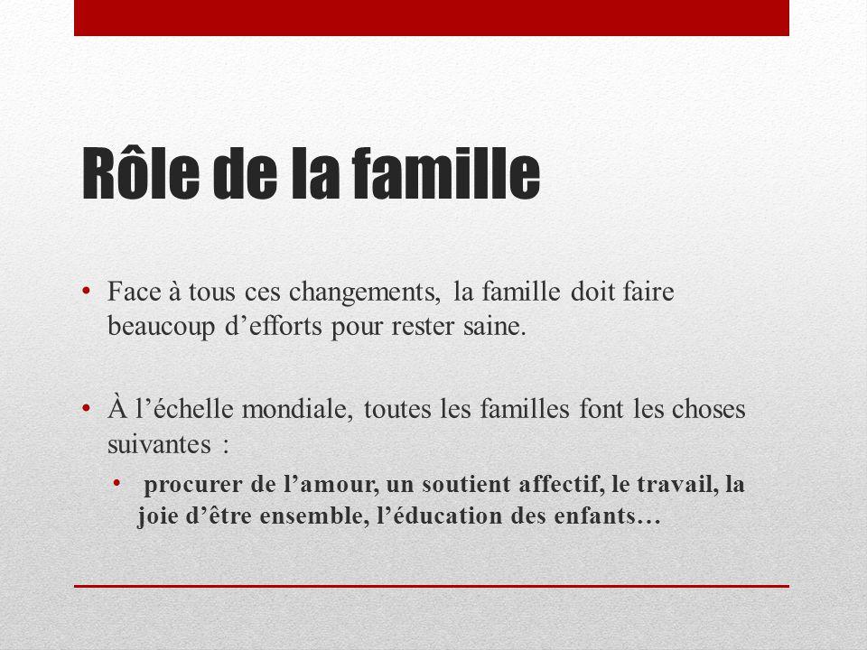Rôle de la famille Face à tous ces changements, la famille doit faire beaucoup d'efforts pour rester saine.