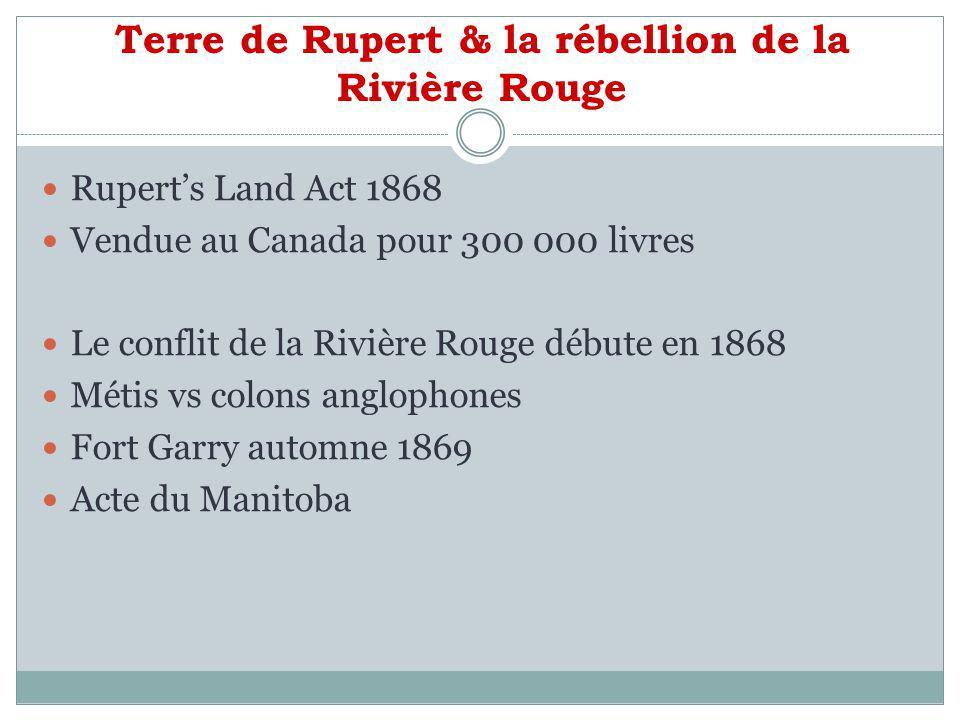 Terre de Rupert & la rébellion de la Rivière Rouge
