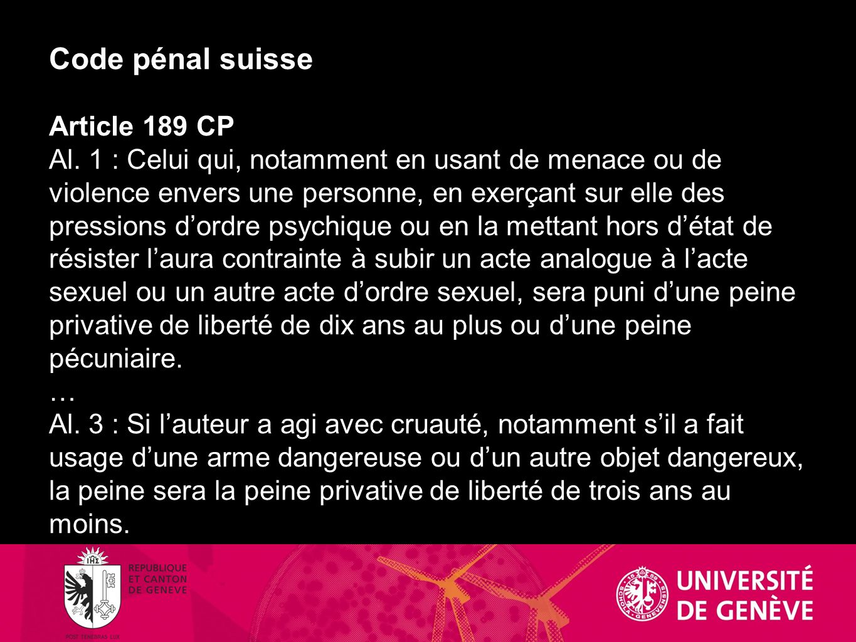 Code pénal suisse Article 189 CP Al