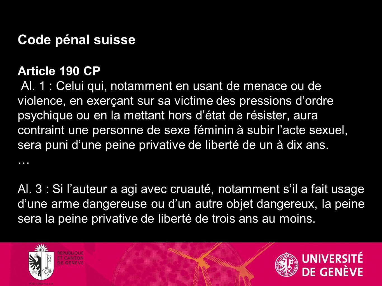 Code pénal suisse Article 190 CP Al
