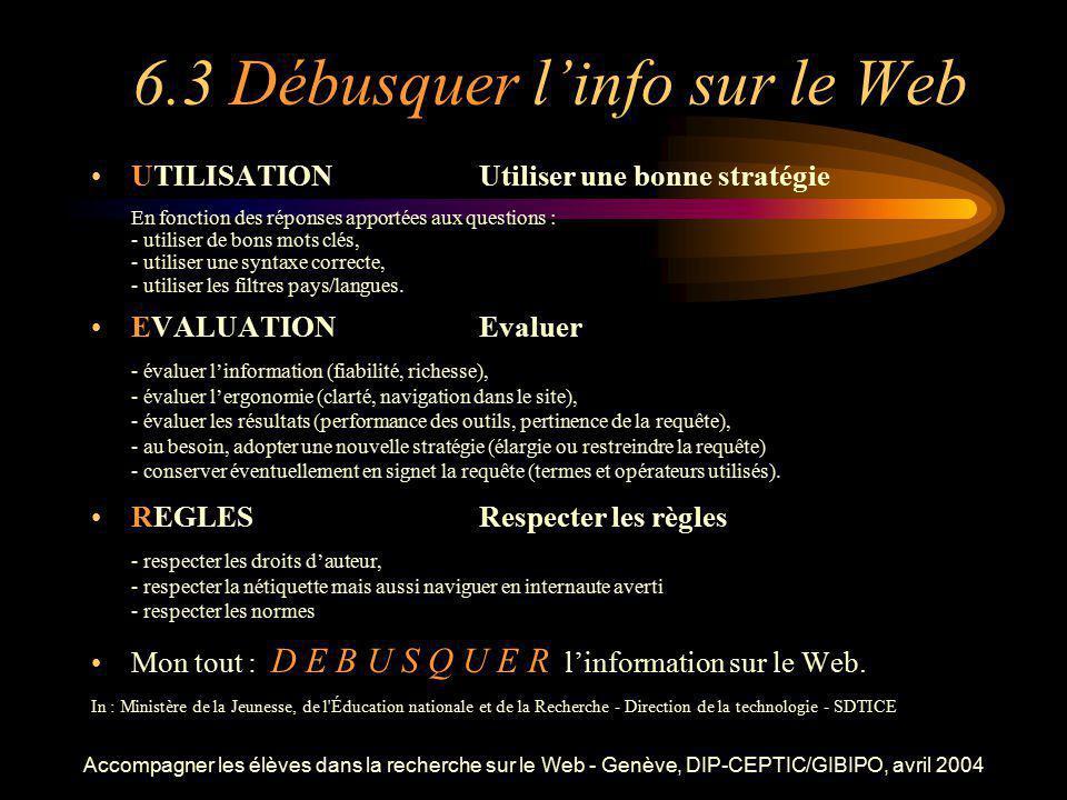 6.3 Débusquer l'info sur le Web