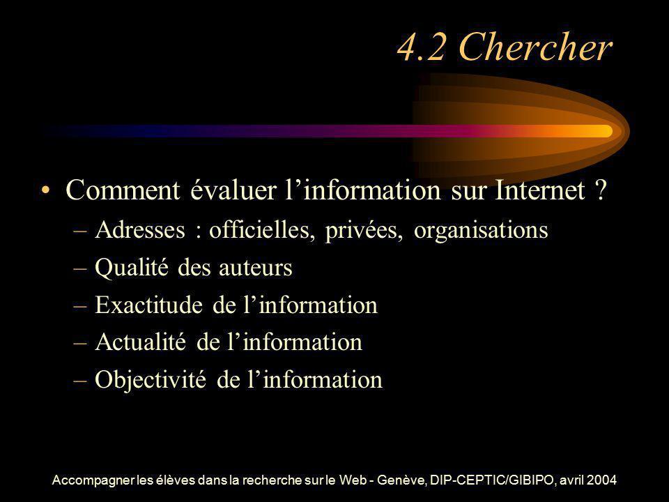 4.2 Chercher Comment évaluer l'information sur Internet