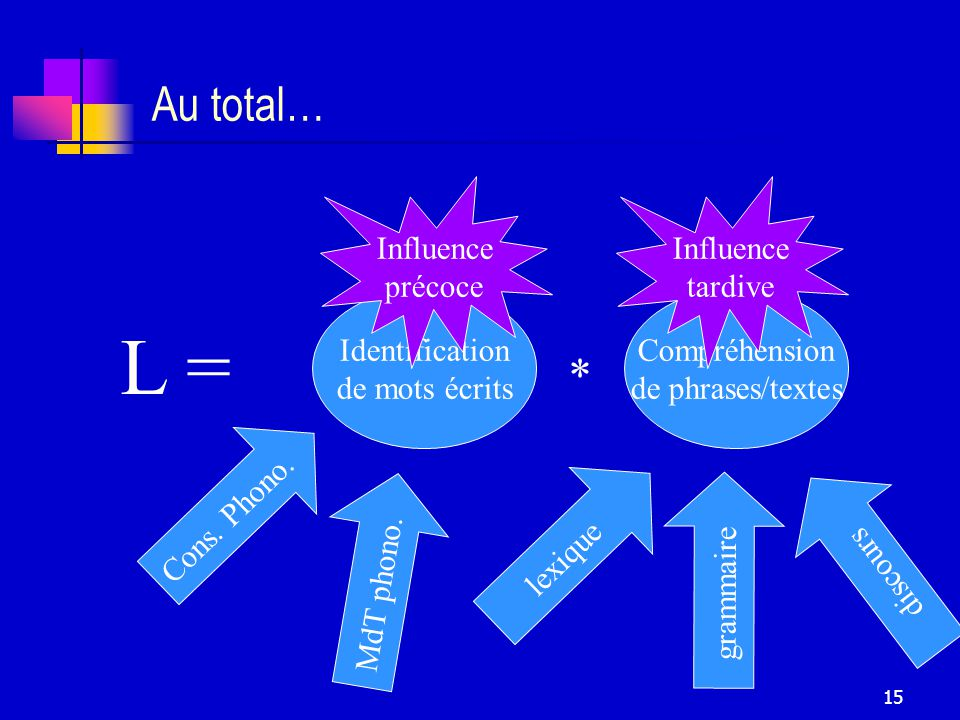 L = Au total… * Influence précoce Influence tardive Identification
