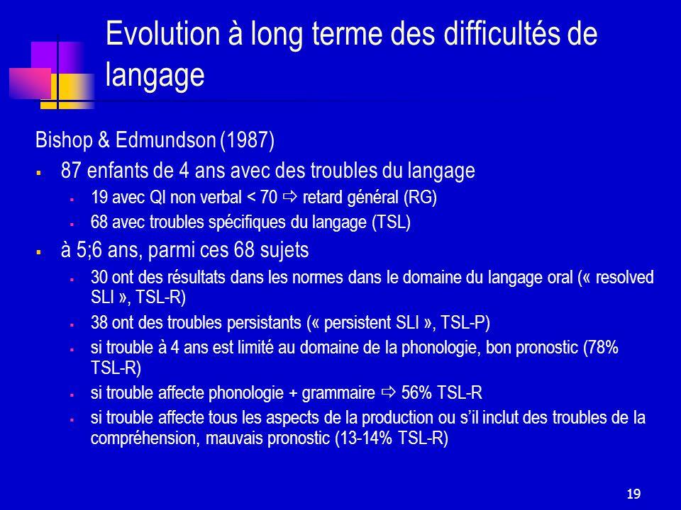 Evolution à long terme des difficultés de langage